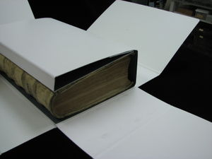 The shape of this book prevented it from sitting properly on the shelf.  The box's fore edge flap prevents the book from slipping while the box is closed.